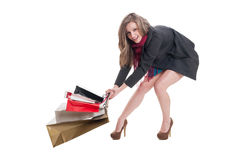Free Happy Shopping Lady Dragging Heavy Bags Royalty Free Stock Images - 50776569