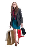 Happy shopping lady walking Royalty Free Stock Photos