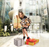 Happy shopping mall colorful boxes Stock Photo