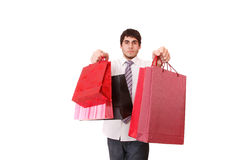 Happy shopping man Stock Images