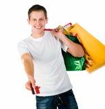 Happy shopping man. Isolated over white background royalty free stock image