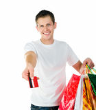 Happy shopping man Royalty Free Stock Photography