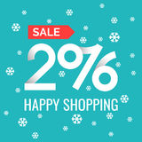Happy shopping 2016. Original concept poster with the inscription Happy shopping 2016. Sale banner. Vector illustration in a linear fashion with snowflakes on a Stock Photos