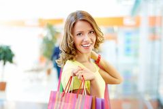 Happy with shopping Royalty Free Stock Image