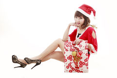 Happy shopping santa girl Royalty Free Stock Photos