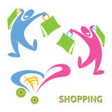 Happy shopping symbol. Vector illustration of shopping symbols Stock Photography