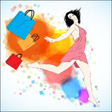 Happy shopping vector illustration Stock Photos