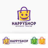 Happy Shopping. Vector logo template Royalty Free Stock Photos
