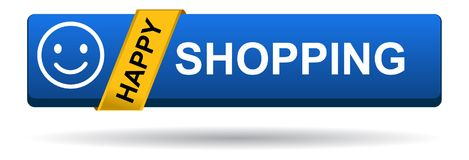 Happy shopping web button blue on white. Background - vector illustration Stock Image