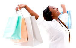 Happy shopping woman Stock Images