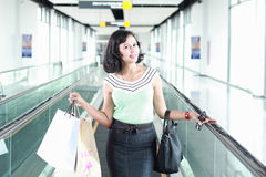 Happy shopping woman. With the bags Royalty Free Stock Image