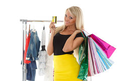 Happy shopping woman. Royalty Free Stock Photography