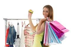 Happy shopping woman. Stock Photo