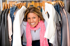 Shopping woman buying clothes Stock Image