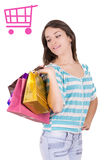 Happy shopping woman with a cart sign Royalty Free Stock Photography