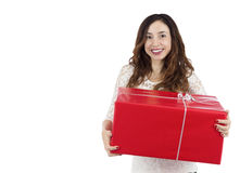 Happy shopping woman holding a gift package Stock Photography