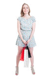 Happy shopping woman holding gift paper bags Royalty Free Stock Photography