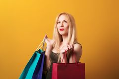 Happy shopping woman holding shopping bags. Shopping, sale, gifts, christmas, x-mas concept. Amazed woman with colorful shopping b royalty free stock images