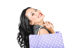 Happy shopping woman smiling with sale purchase Royalty Free Stock Photo