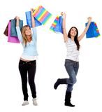 Happy shopping women Stock Images