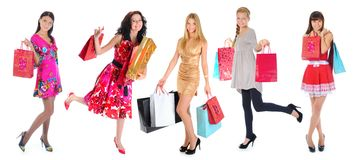 Happy shopping women Stock Photography