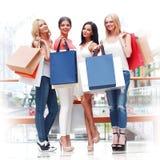 Happy shopping women stock photos