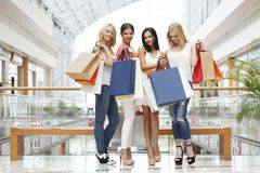 Happy shopping women Stock Photos