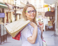 Happy Shopping Young Woman stock images