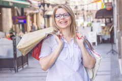 Happy Shopping Young Woman stock image