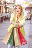 Happy Shopping Young Woman Royalty Free Stock Photos