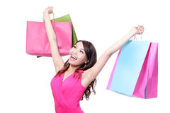 Happy shopping young woman Stock Photo