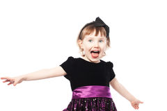 Happy shout girl in a dress. Isolated over white Stock Photos