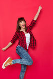 Happy Shouting Woman On Red Background Royalty Free Stock Image