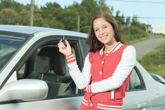Happy showing car keys Royalty Free Stock Images