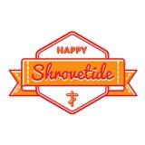 Happy Shrovetide holiday greeting emblem. Happy Shrovetide emblem isolated vector illustration on white background. 20 february world orthodox holiday event Stock Images