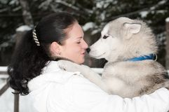 Happy siberian husky owner with dog. Happy positive siberian husky owner facing to dog snout at winter outdoors Stock Image
