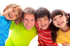 Happy Siblings. A portrait of happy siblings in colorful T-shirts Stock Photography