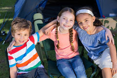 Happy siblings on a camping trip Royalty Free Stock Photography