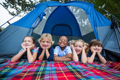 Happy siblings on a camping trip Stock Image