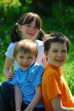 Happy siblings inmMeadow Royalty Free Stock Images