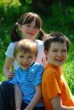 Happy siblings inmMeadow. Three happy siblings sitting in a grassy meadow royalty free stock images