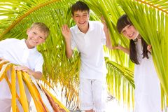 Happy siblings in palm fronds. Two happy brothers and their sister dressed in white, standing within palm fronds on a beach in the Maldives royalty free stock photography