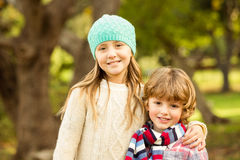 Happy siblings in the park Royalty Free Stock Photography