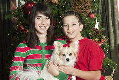 Happy Siblings with Pet Stock Images
