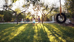 Happy siblings playing at park with swing. Happy siblings running through park with tire swing hanging from tree and beautiful sunlight in background stock video