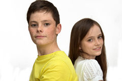 Happy siblings. Portrait of brother and his younger sister Royalty Free Stock Photo