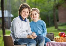 Happy Siblings With Smartphone At Campsite Royalty Free Stock Images