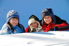Happy siblings in winter Royalty Free Stock Images