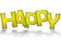 Happy sign. Illustration of happy sign in yellow letters casting shadow on white background vector illustration
