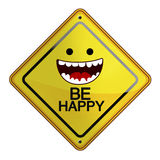 Happy sign flat illustration. Happy with text be happy sign with white background Stock Photo